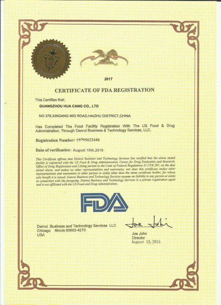 HUACANG food quality certificate FDA certificate